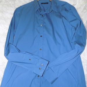 Theory Mens Button Down Blue Large